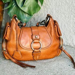 BANANA REPUBLIC flap top hobo bag cognac leather